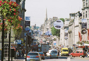 Looking down union street, Aberdeen on a busy summers day