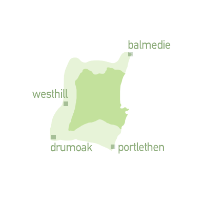 Map graphic showing region for zone 2 - Balmedie, Westhill, Drumoak and Portlethen.
