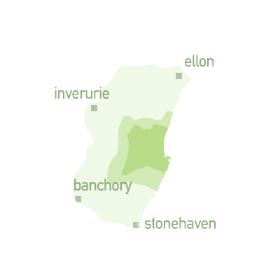 Map graphic for zone 3 travel - Ellon, Inverurie, Banchory and Stonehaven