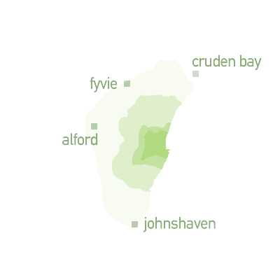 map graphic for travel zone 4 - Cruden Bay, Fyvie, Alford and Johnshaven.
