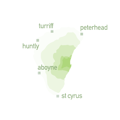 map graphic showing zone 5 - Turriff, Huntly, Aboyne, St Cyrus and Peterhead